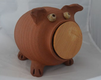 Handmade, wheel thrown, piggy bank