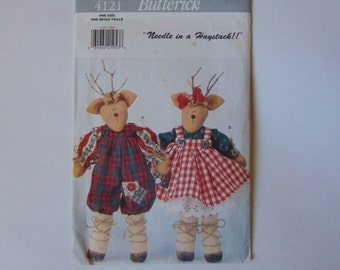Butterick Sewing Craft Pattern 4121 Christmas Sewing Pattern Mr. & Mrs. Reindeer