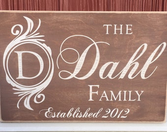 "Rustic Wood Sign - Family Name with Monogram and Establishment - 12"" x 18"""