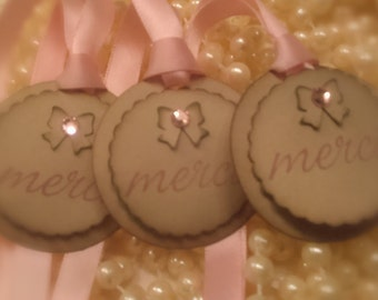 Merci Tags//Thank You Tags// Vintage Tags//Pink Tags