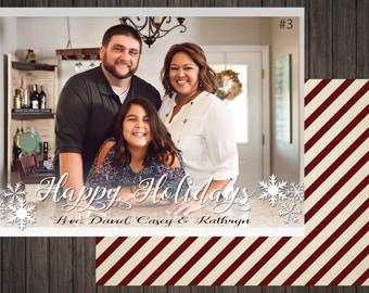 Classic Christmas White 2 Sided Photo Holiday/Christmas Card (3)