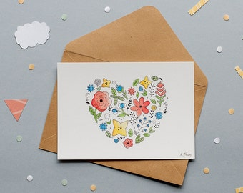 Flower Heart - Print Postcard