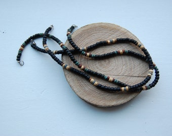 Pair of 2 Vintage Earth Tone Wood Bead Necklaces - Black, Green, Brown, Natural Wood