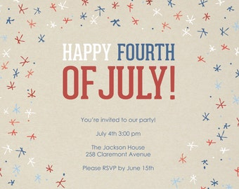 Patriotic and Fireworks- Invitation- Template
