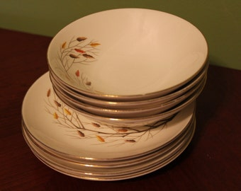 Vintage Woodland Leaves and Tree Branches Set of 8 Bowls and Small Plates