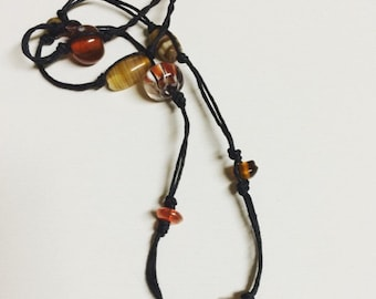 Knotted Glass Bead Necklace