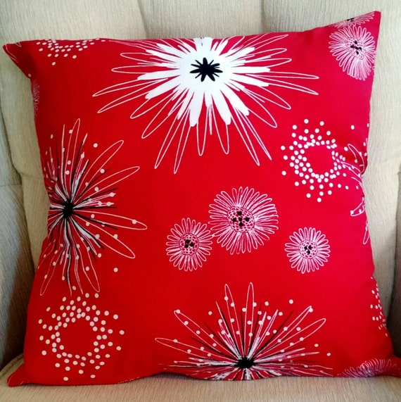Big Red Decorative Pillows : Large Red Throw Pillow fun red print toss cushion 18
