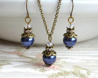 Navy Rustic bridesmaid jewelry set Blue wedding jewelry set of necklace and earrings Bridesmaid Gift set Blue bridesmaids Vintage wedding