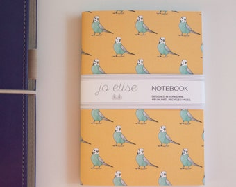 Budgie Pattern Notebook A6 recycled paper