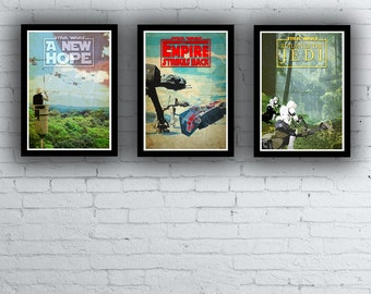 Star Wars Trilogy Film / Movie Poster / Print Set Episodes 4 5 6