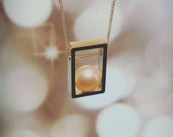 Sterling Silver Rectangle Necklace with Freshwater Pearl