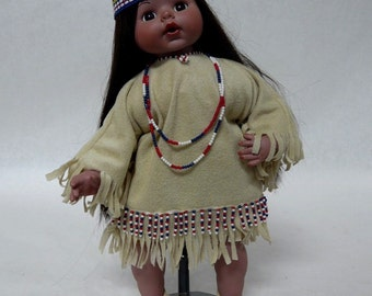 """One of a Kind Obeda's Handmade 16"""" Porcelain Indian Doll with Stand"""