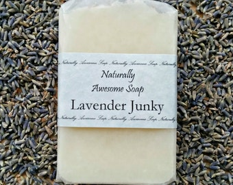 Lavender Junky Handmade Soap - All Natural Soap, Lavender Essential Oil, Natural Lavender Soap, Cold Processed Soap, Vegan Soap, for Women