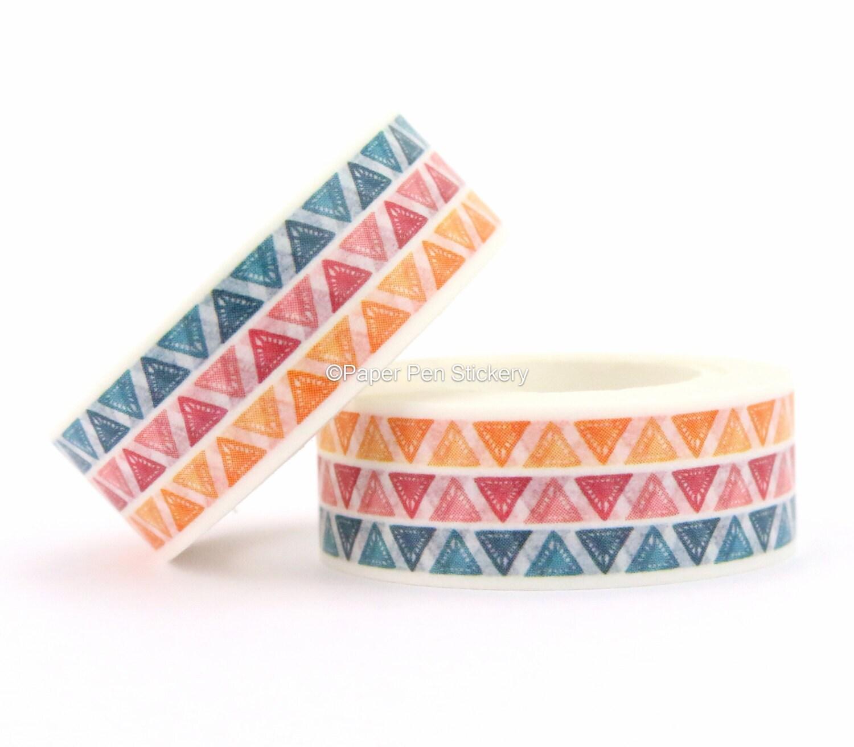 Washi tape colorful triangle pattern geometric pattern washi for Geometric washi tape designs