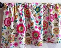Floral Valance, Kitchen Valance, Window Valance, Widow Treatment, Custom Made Valance, Home Decor, Valence, Pink, Blue, Green