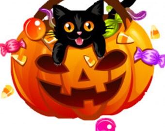 Cross stitch pattern Cat and pumpkin Halloween