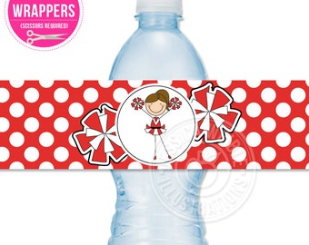 Red Cheerleader Printable Water Bottle Wrappers, Cheer Bottle Labels, Instant Download, Cheerleader Printable Party Wrappers