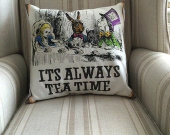 Alice In Wonderland Mad Hatters Tea Party Printed Cushion And Cover