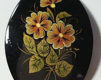 Hand Painted Russian Pin or Brooch Gold Flowers Oval Black Gold Trim Hand Painted Russian Folk Art Floral Brooch 1980s