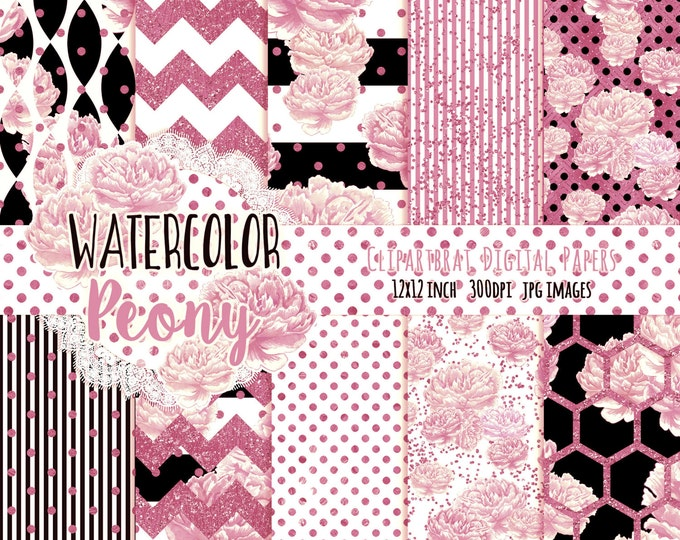 WATERCOLOR PEONY Digital Paper Pack Black White & Blush Pink Metallic Commercial Use Digital Paper Stripes Cottage Chic Flower Digital Paper