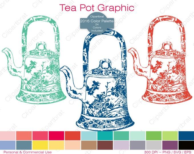 TEA POT Clipart Commercial Use Clipart Teapot Graphic 2016 Color Palette 24 Colors Tea Party Vector Graphic Tea Digital Sticker Png Eps Svg