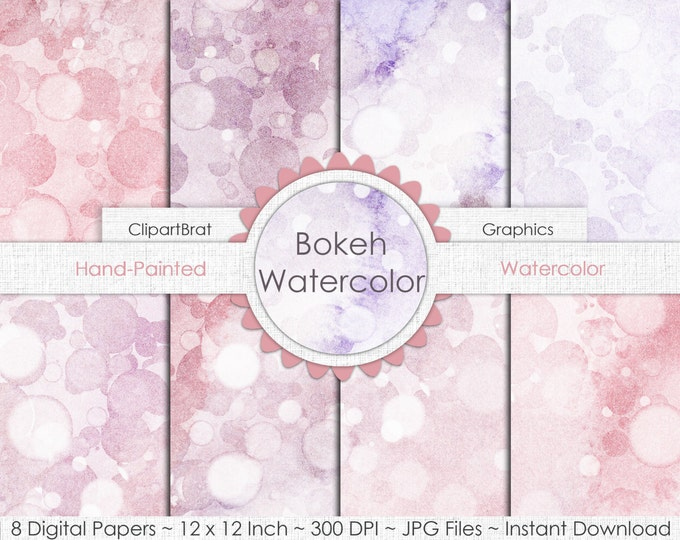 DOTS WATERCOLOR Digital Paper Pack Commercial Use Background Paper Blush Pink Bokeh Paper Hand-Painted Real Watercolor Paper Textures