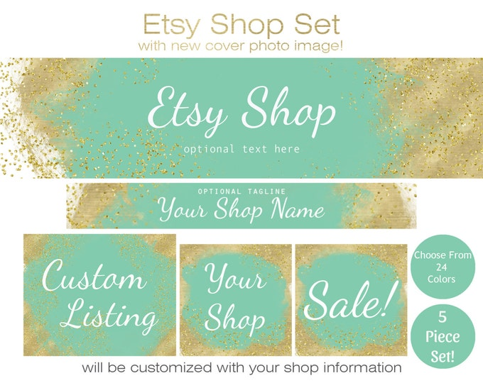 METALLIC GOLD & PAINT Etsy Shop Set -Choose Your Font -Cover Photo Banner Icon Gold Confetti and Watercolor Paint Business Branding Package