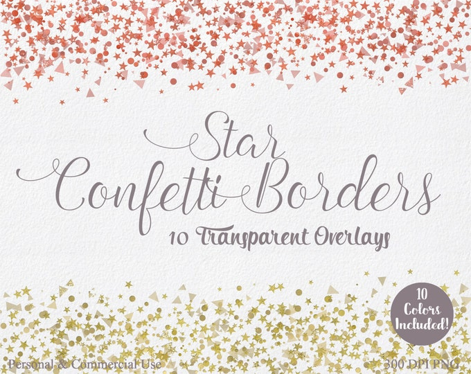 METALLIC CONFETTI CLIPART Commercial Use Clip art 10 Confetti Borders Overlays Silver Gold Foil Confetti Birthday Party Invitation Clipart
