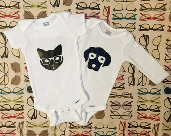 Dog and Cat with Glasses Onesie; dog lover; cat lover; animal lover; glasses lover