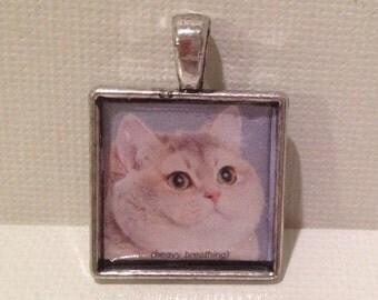 Heavy Breathing Cat Meme 23mm Pendant