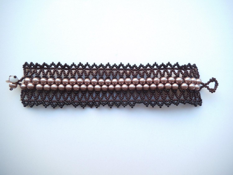 loom beaded bracelet vintage woven bead bracelet by