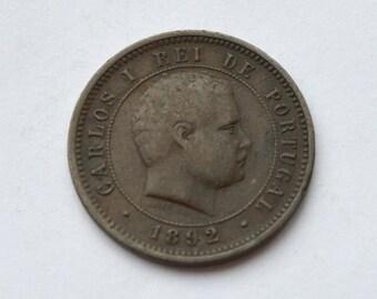 Portugal 5 reis 1892 Carlos I; bronze coin; original