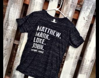 Matthew. Mark. Luke. John - Gospel Squad Soft Style Marbled Crewneck Tee