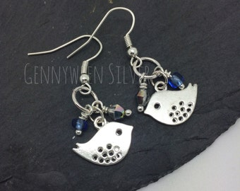 Handmade beaded bird charm drop earrings