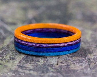 Orange Blue Purple Wooden Ring - Multicolor Wood Ring Mens Fashion Ring Womens Fashion Jewelry Wedding Band Engagement Ring Wood Anniversary