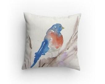 Bird Throw Pillow, Decorative Pillow, Blue Bird Design, with Pillow Insert