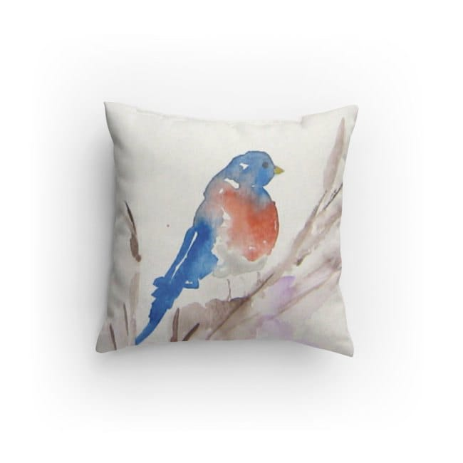 Blue Bird Throw Pillows : Bird Throw Pillow Decorative Pillow Blue Bird Design with