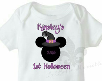 Minnie Mouse Witch 1st Halloween Bodysuit/Minnie Mouse First Halloween Shirt
