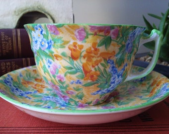 Vibrant Yellow Chintz Teacup & Saucer by Sampson Smith