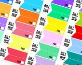Bill Due Stickers - Planner Stickers (SKU047)
