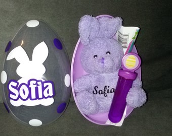 personalized Easter eggs with personalized bunny
