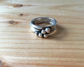 Three Ring Stacking Set, Sterling Silver, Simple, Oxidized, Black, Stacking, Balls