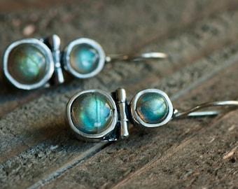 Labradorite Earrings,Gemstone Earrings,Sterling Silver Dangle Earrings,Blue Flash drop Earrings ,Bezel set earrings,GiftForHer,Labradorite