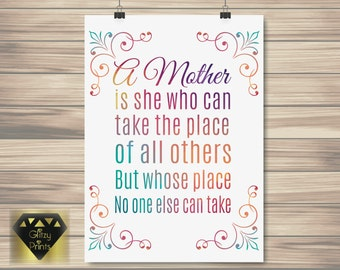 Mother's day gift, Mother print, Mum print, Watercolour print, gift for mum, Inspirational Quote / Watercolor Print /Wall Art Print