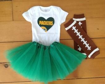 Go Packers! Baby girl football fan tutu set. A baby shower gift idea.