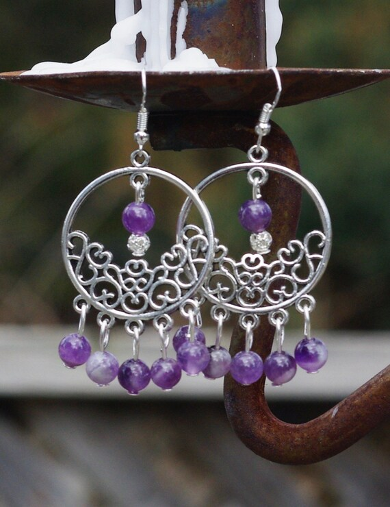 Purple Amethyst Chandelier Earrings ~ Semi Precious Stones ~ Boho Amethyst ~ Bohemian Purple ~ Anniversary Gift ~ February Birthstone