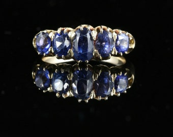 Antique Victorian Sapphire Ring 5 Stone Sapphire 18ct Gold