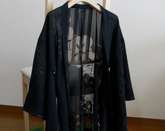 Plum pattern, thin coat, a black background・haori