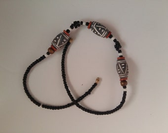 2 African fair trade handmade necklaces, clay and terracotta