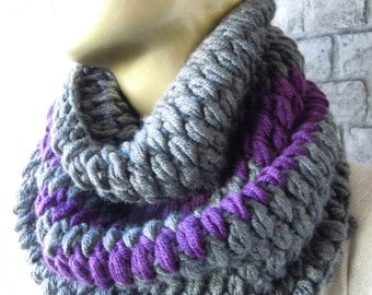 Crochet Dark Grey And Purple Chunky Women And Men Scarves, Fashion, accessories